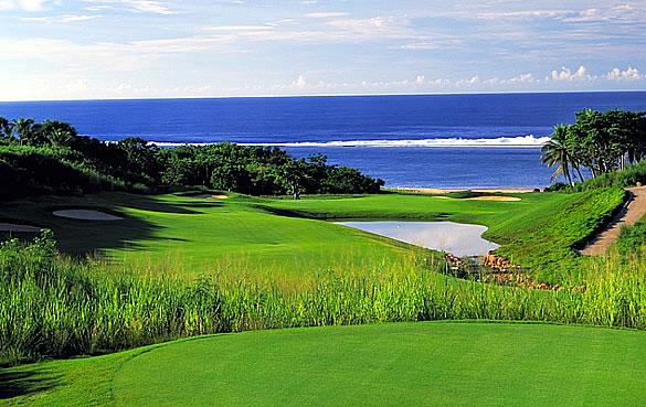 View across the Natadola Bay golf course